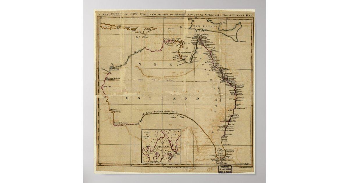 Map Of Australia 1770.Antique Map Of Australia Circa 1770 Poster Zazzle Com Au
