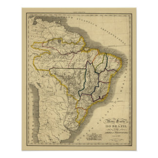 Antique map of Brazil in 1821 Poster