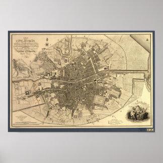 Antique Map of Dublin Ireland, 1797 Poster