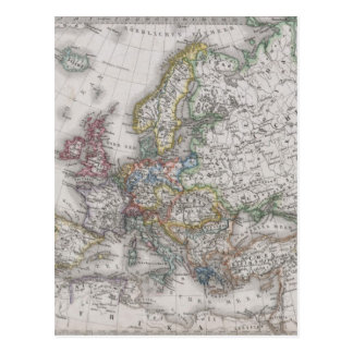 Antique Map of Europe circa 1862 Postcard