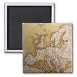 Antique map of europe. Old world. Square Magnet