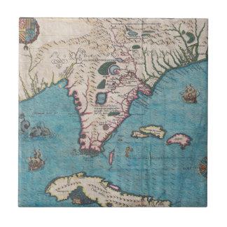 Antique Map of Florida and Cuba Ceramic Tile