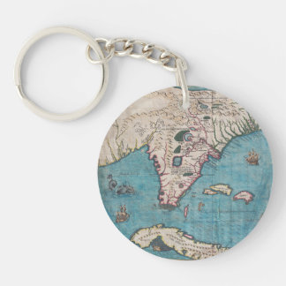 Antique Map of Florida and Cuba Key Ring