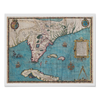 Antique Map of Florida and Cuba Poster
