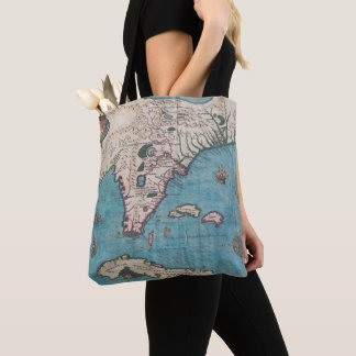 Antique Map of Florida and Cuba Tote Bag