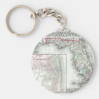 Antique Map of Florida & Mobile, Alabama Basic Round Button Key Ring