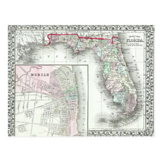 Antique Map of Florida & Mobile, Alabama Postcard