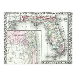 Antique Map of Florida & Mobile, Alabama Postcards