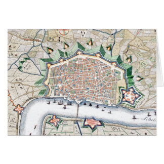 Antique Map of Fortress City of Antwerp, Belgium Card