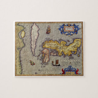 Antique Map of Japan by Mercator and Hondius, 1606 Jigsaw Puzzle