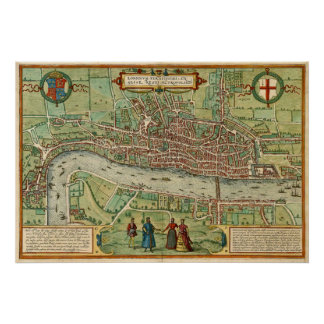 Antique map of London by Braun & Hogenberg Poster