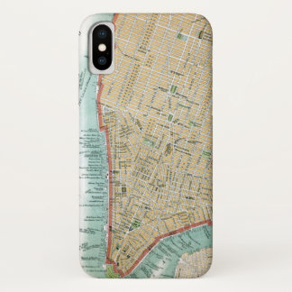 Antique Map of Lower Manhattan and Central Park iPhone X Case