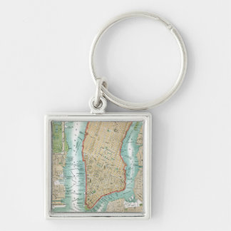 Antique Map of Lower Manhattan and Central Park Key Ring
