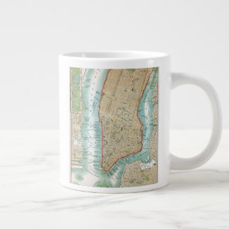Antique Map of Lower Manhattan and Central Park Large Coffee Mug