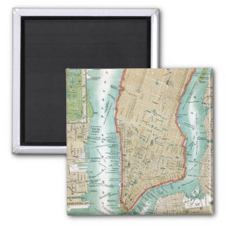 Antique Map of Lower Manhattan and Central Park Magnet