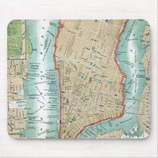 Antique Map of Lower Manhattan and Central Park Mouse Pad