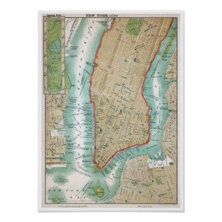 Antique Map of Lower Manhattan and Central Park Poster