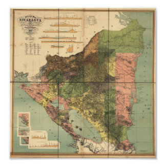 Antique Map of Nicaragua 1898 Poster