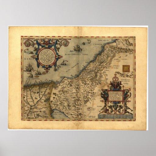 Antique Map of Palestine ORTELIUS ATLAS 1570 A.D. Print
