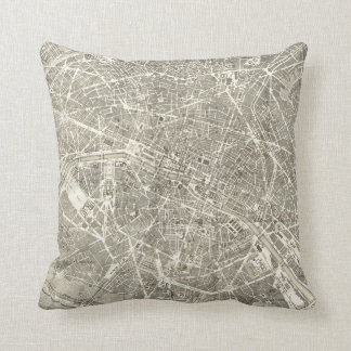 Antique Map of Paris | Vintage Decor Cushion