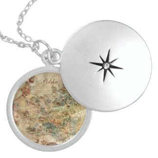 ANTIQUE MAP OF POLAND STERLING SILVER NECKLACE