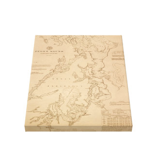 Antique map of Puget Sound Canvas Print