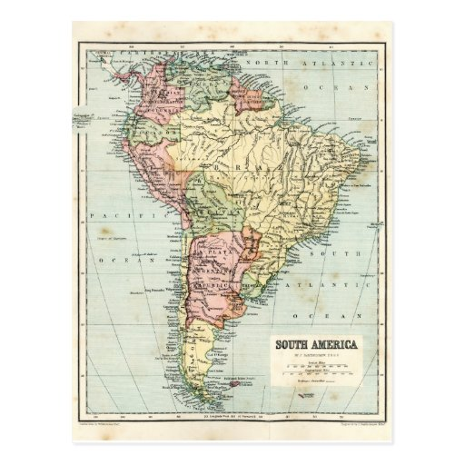 Antique map of South America Post Cards
