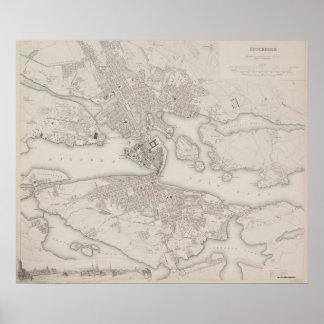 Antique Map of Stockholm, Sweden Poster
