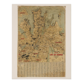 Antique map of Sydney Australia Poster