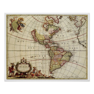 Antique Map of the Americas by Johannes De Ram Poster