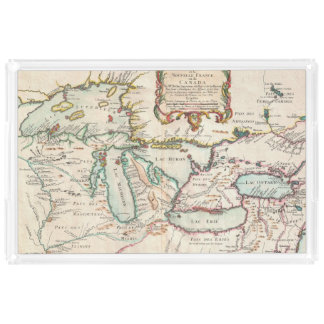 Antique Map of the Great Lakes Acrylic Tray
