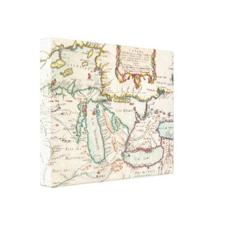 Antique Map of the Great Lakes Stretched Canvas Prints