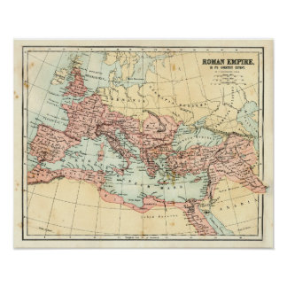 Antique map of the Roman Empire Poster
