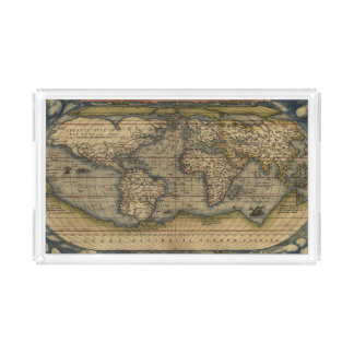 Antique Map of the World Acrylic Tray