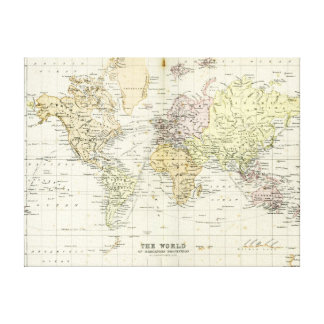 Antique Map of the World Stretched Canvas Prints