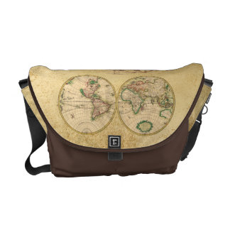 Antique Map of the World Courier Bags
