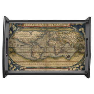Antique Map of the World Serving Tray
