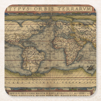 Antique Map of the World Square Paper Coaster