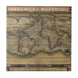 Antique Map of the World Tile