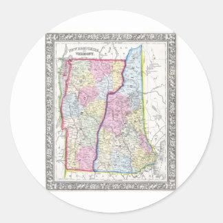 Antique Map of Vermont & New Hampshire c. 1862 Classic Round Sticker