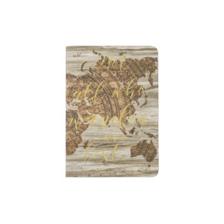ANTIQUE MAP ON RUSTIC WOOD WANDERLUST GOLD PASSPORT HOLDER