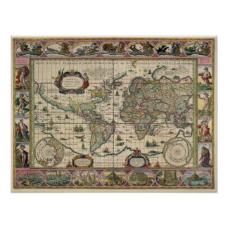 Antique Map Replica 16th century Map Poster