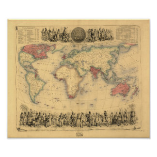 Antique Map - The British Empire 1850 Poster