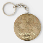 Antique Map You Are My World Romantic Keychain