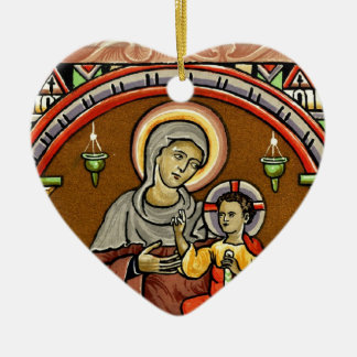 Antique Mary and Jesus Print Christmas Decoration Ceramic Heart Decoration