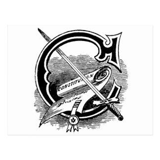 Antique Masonic Symbol Calligraphy Letter C Postcards
