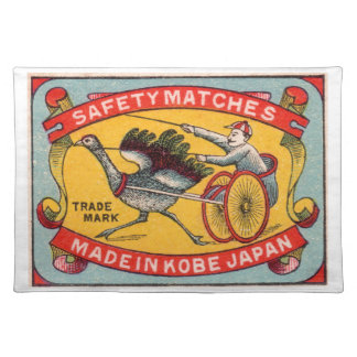 Antique Matchbox Label Ostrich Harness Racing Kobe Placemat