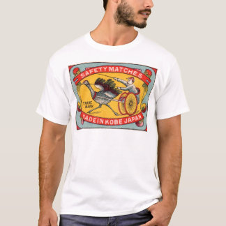Antique Matchbox Label Ostrich Harness Racing Kobe T-Shirt