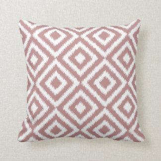 Antique Mauve White Ikat Tribal Mosaic Pattern Cushion