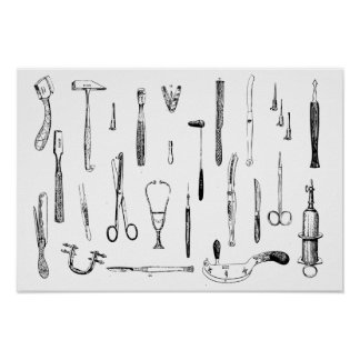 Antique medical instruments poster